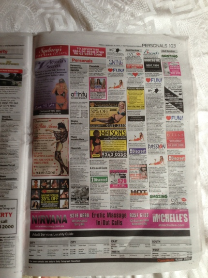One page of todays Telegraph, note the handy locality guide