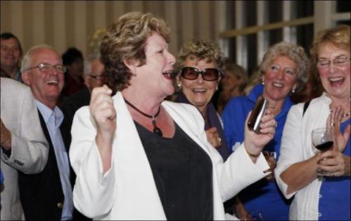 Jillian Skinner at a North Shore Party. Sharing a joke about those in the West giving birth in car parks?