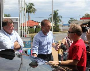 Abbott explains how after his tax hike petrol stations will be something we push our cars past...