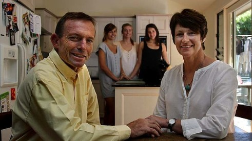 Tony Abbott knew where to find the women in his family when he needed a photo... the kitchen. Nice of Tony to drop in...