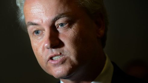 Geert Wilders not looking happy, maybe its the cold-sore...