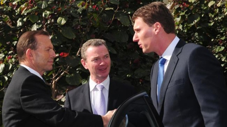 Bernardi warns Abbott about gay men and bestiality with an amused onlooker