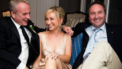 Barnaby gets cosy on the couch with the Smiths on their wedding day