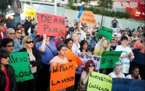 Residents and childcare workers protesting the Liberal attempts to close childcare centres
