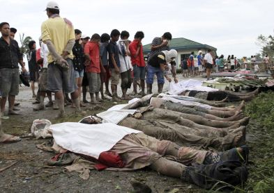 Looking for the bodies of family members in the Philippines after the deadly typhoon