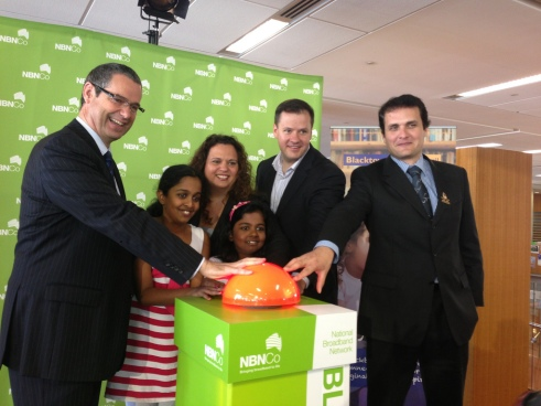 Karlos Siljeg (naturally far right) gets a taste of what its like to deliver rather than take when turning on the NBN in Greenway with MP's Conroy, Rowland and Husic. The Liberals are now scrapping the NBN as we know it...