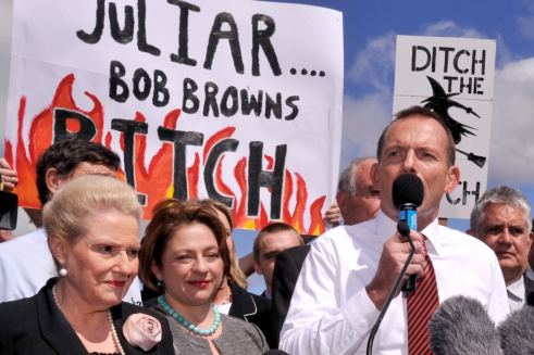 Slogans and sexism, just another day at the office for Tony...