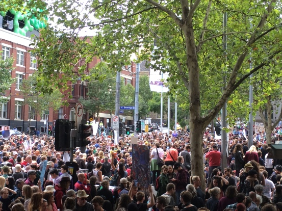 An apparently insignificant number of people gather in Melbourne