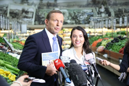 Tony Abbott and Mt Druitt failure Isabelle White, talking the stuff that fertilises the fresh food...